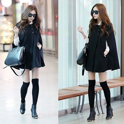 New Fashion Womens Batwing Cape Wool Poncho Coat Jacket Winter Warm Cloak Coat $14