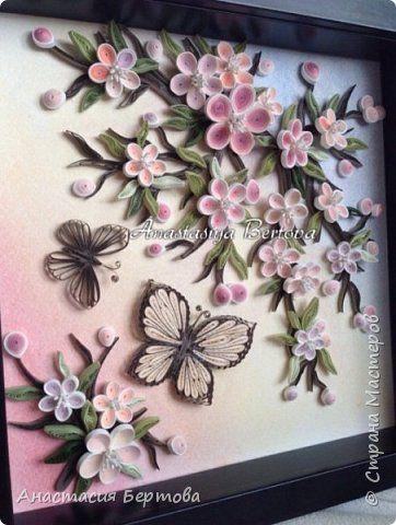 Картина панно рисунок Квиллинг Разное Бумага Бумажные полосы Листья Проволока фото 4