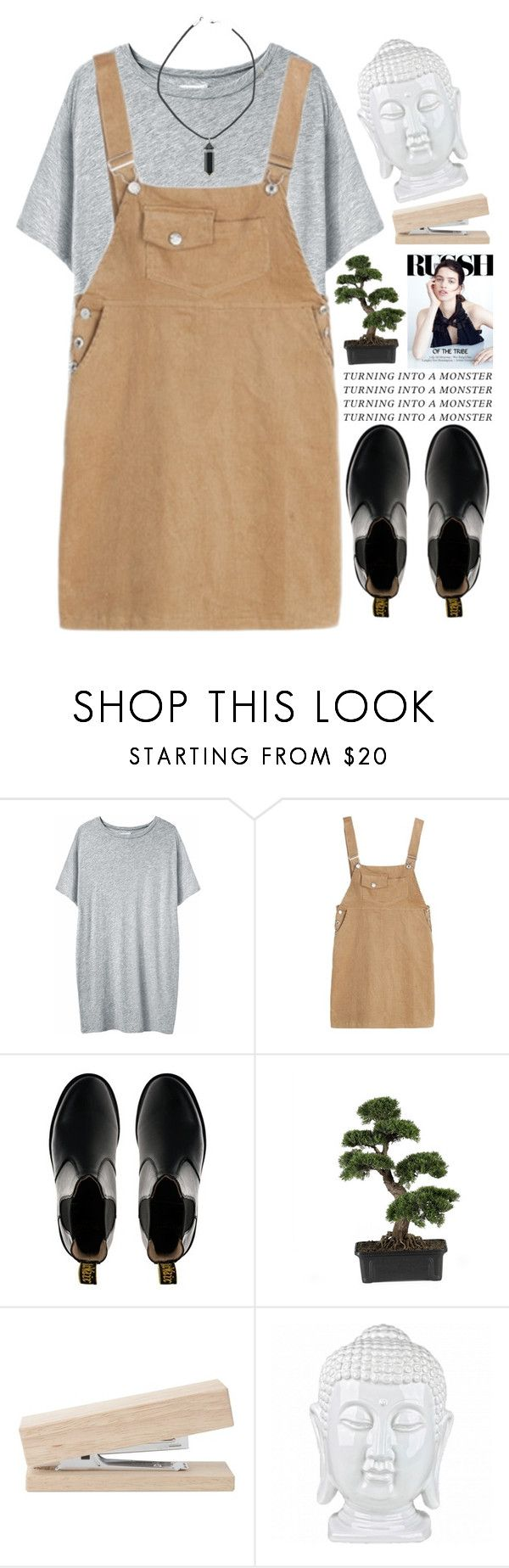 """""""Pogue."""" by sombrasdelcarax ❤ liked on Polyvore featuring moda, Organic by John Patrick, Dr. Martens y Nearly Natural"""