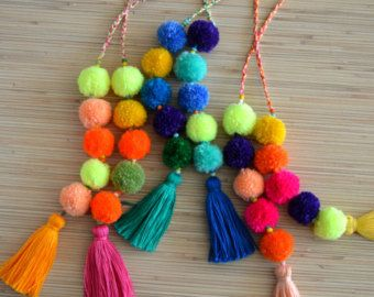 Pom pom bag charm Tassel bag charm Neon pink tassel bag charm Bag accessories Boho accessories Handbag charm Pom pom purse charm More colors available at https://www.etsy.com/listing/290301701/pom-pom-bag-charm-tassel-bag-charm-neon?ref=shop_home_feat_1  Colorful bag charm made of hand crafted pom poms and tassels. Perfect for summer and beach bags.  One size.  Length without a loop: approx. 8.6 inches / 22 cm  ♥ Heartmade item ♥  All my products come in a nicely crafted wrapping, so they…