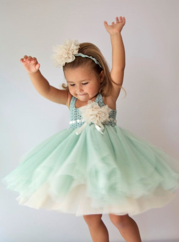 Mint & Cream Tulle Dress with Empire Waist Crochet by AylinkaShop