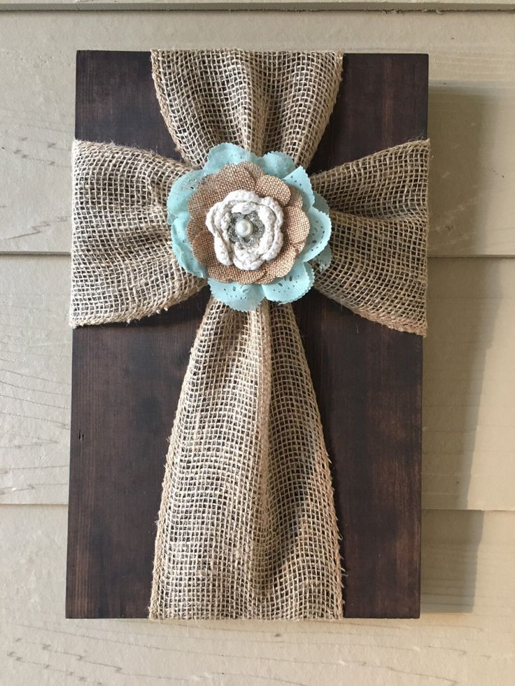 Tan Burlap Cross with Mint Green/Burlap Flower by TheBurlapCross1 on Etsy https://www.etsy.com/listing/266590279/tan-burlap-cross-with-mint-greenburlap