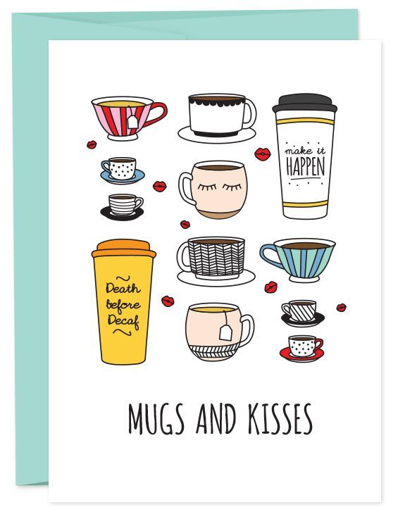 That coffee loving friend of yours is in need of some mugs and kisses. Well, you might want to skip the coffee breath kisses but hugs and mugs are nice. • A6 folded card • blank inside • matching Fren