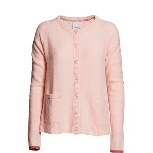 SUPERSOFT cardigan, soft light pink. The classic and usable cardigan to be worn with every outfit. Made in sustainable wool from our Italien supplier. Beautiful details with Liberty fabric on the buttons.