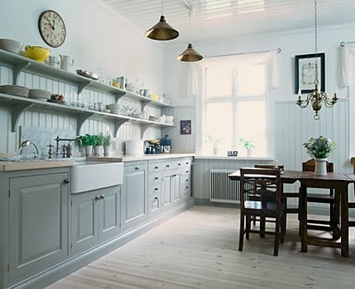 Light grey cabinets, with white. I love this kitchen.