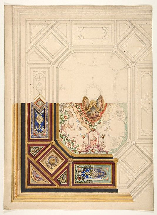 Design for a paneled ceiling to be painted in grotesque motifs Jules-Edmond-Charles Lachaise, French