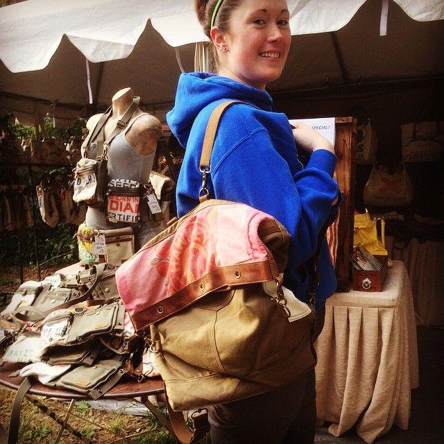 "@selinavaughanstudios's photo: ""Brittany an avid dog rescuer and pharmacist just got one pf our new backpacks! #junkstock #omaha #selinavaughan #selinavaughanstudio #handbag #vintage #seedsack #upcycle"""