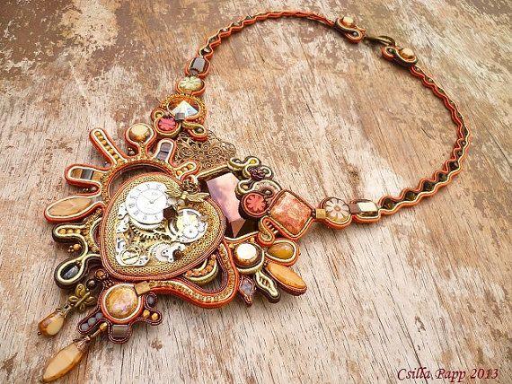 Steampunk soutache designer OOAK collar bronze by CsillaPapp, $250.00