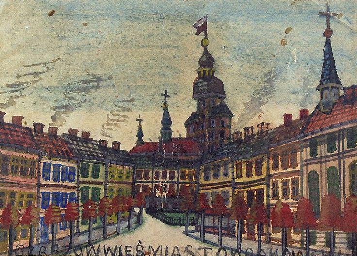 NIKIFOR KRYNICKI (1895-1968)  Ratusz w mieście gwasz, papier; 14,5 x 20 cm (w świetle oprawy);