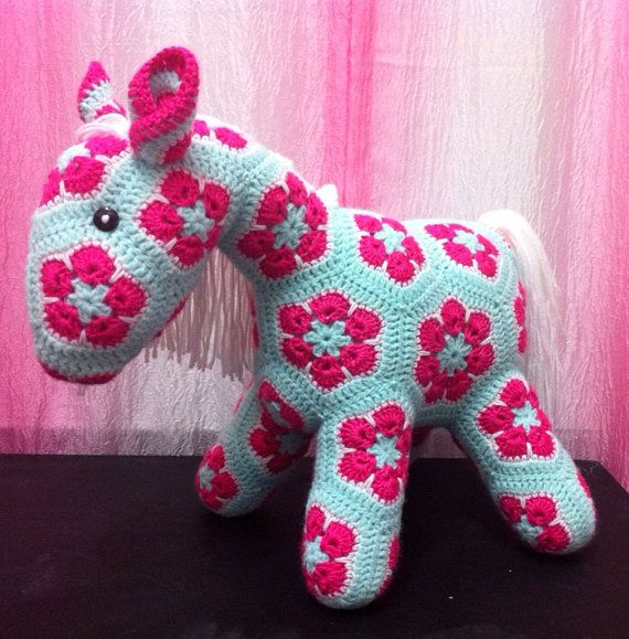 Crochet African flower pony on Etsy, USD100.00 My crochet ...