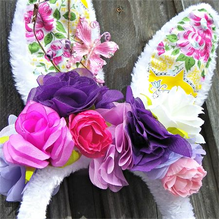 Bunny in the garden flower crown. Easter hat parade Rabbit ears. From Puddle Ducklings at MadeIt