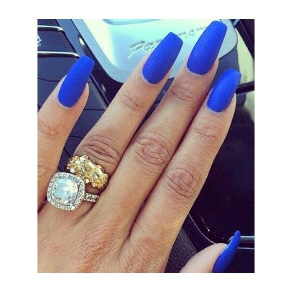 Royal blue matte nails ❤ liked on Polyvore featuring beauty products, nail care, nail treatments and nails