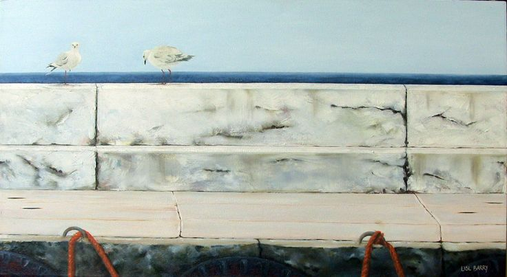Harbour Patrol  (oil on canvas, 505X900mmX25mm) by Lisl Barry   www.lislbarry.co.za  Kalk Bay harbour, Cape Town
