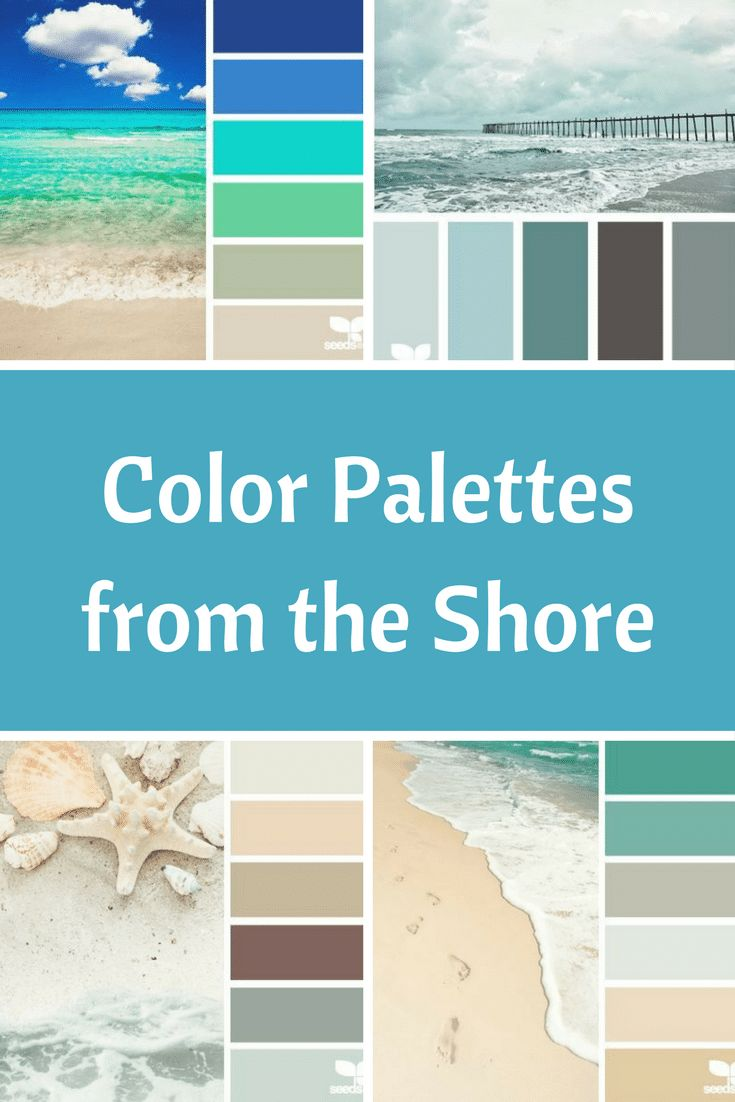 These beach color palettes will help you create your own beach color scheme. Choose between multiple sand, sea, and beachy palettes