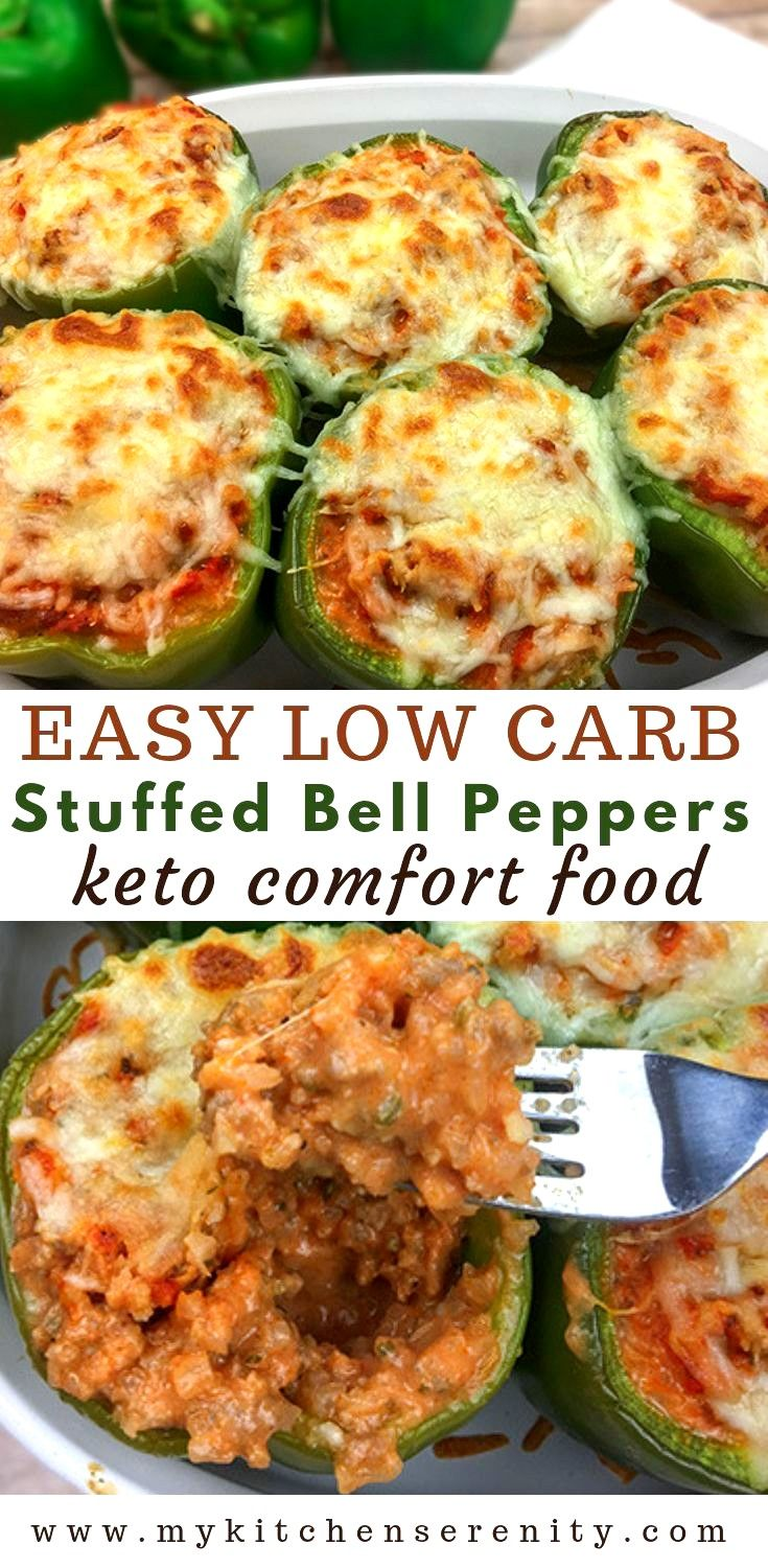Easy Low Carb Stuffed Bell Peppers Filled With Ground Beef Cauliflower Rice Sour Cream Tomato Low Carb Stuffed Peppers Stuffed Peppers Low Carb Meals Easy