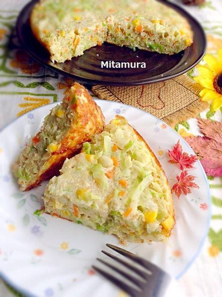 高麗菜烘蛋(無起司)     高麗菜(中) 4分之1顆 玉米粒 1小杯 洋葱(小) 半顆 紅蘿蔔(小) 3分之1根 馬鈴薯(中) 一顆 蛋 4顆 調味料 塩 1小匙 糖 1小匙 胡椒粉