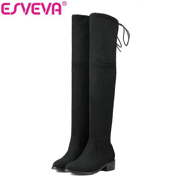Special offer ESVEVA 2017 Square Low Heel Woman Over The Knee Boots Ladies Shoes Stretch Fabric Winter Women Motorcycle Boots Size 34-43 just only $28.67 with free shipping worldwide  #womenshoes Plese click on picture to see our special price for you