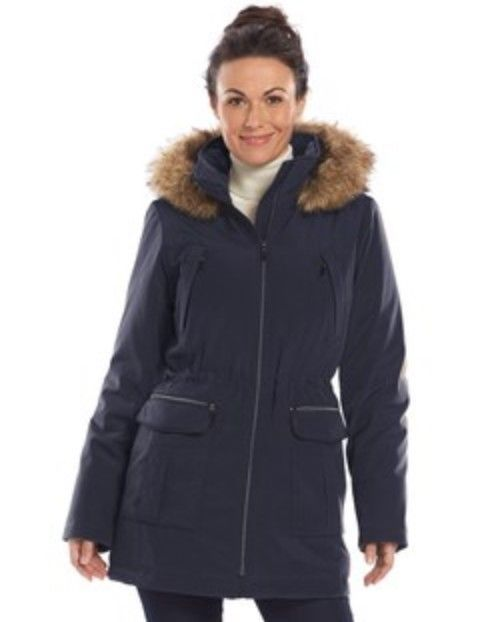 d36eb83e895 Women s Hooded Anorak Stadium Jacket Large Navy Blue Faux Fur Croft and  Barrow  fashion  clothing  shoes  accessories  womensclothing   coatsjacketsvests ...