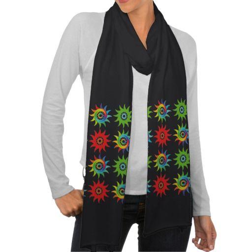 Coloridas formas patrón abstracto soles. Regalos, Gifts. #scarf #bufanda