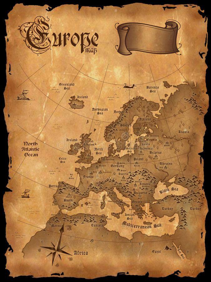 MAP ANTIQUE NORTH ATLANTIC OCEAN EUROPE AMERICA FRAMED ART PRINT B12X7084