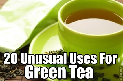 20 Unusual Uses For Green Tea: But there's much more to green tea than meets the eye. Green tea can also be used to: reduce wrinkles, eliminate dark circles, relieve irritation and redness, boost dental health, treat sunburn, eliminate fridge odor, clean carpets, fertilize plants, freshen clothes, treat acne and much more.