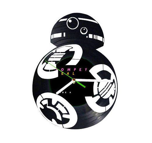 star wars bb8 vinyl wall clock star wars gift by puffpuffdesign