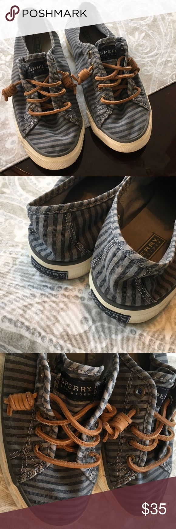 Canvas gray and black sperry Very good condition worn a few times Sperry Top-Sider Shoes Flats & Loafers