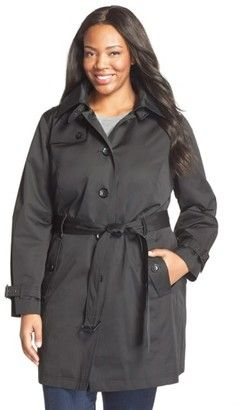 Shop Now - >  https://api.shopstyle.com/action/apiVisitRetailer?id=484088529&pid=uid6996-25233114-59 Plus Size Women's Michael Michael Kors Single Breasted Raincoat  ...