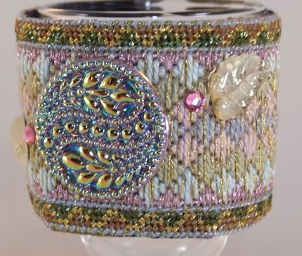Needlepoint Wrist Cuff Beautiful Pastel by lesjardinsdevie