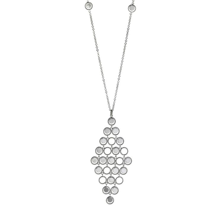 Oxette Silver 925 Necklace - Available here: http://www.oxette.gr/kosmimata/kolie/necklace-long-chandelier-mirror-rings-s.silver-75l-1/