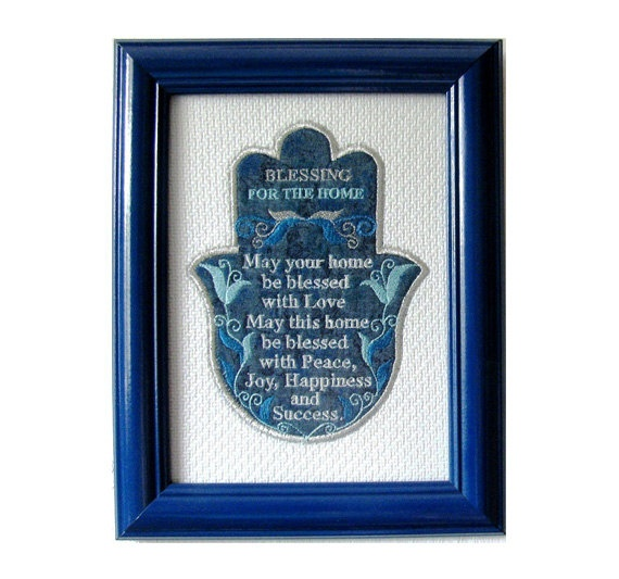 Home Blessing Gift Framed Embroidery Hamsa Wall Art Jewish Gift New Home Wedding Gift