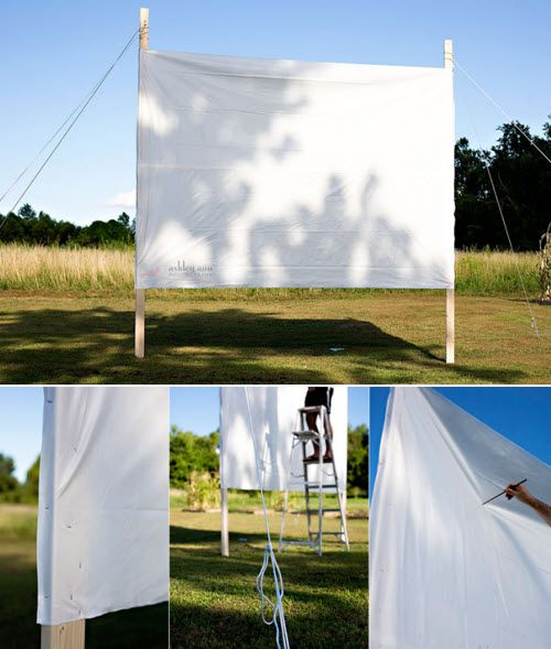 outdoorscreen for outdoor movie movie party-- I would LOVE to do this one day