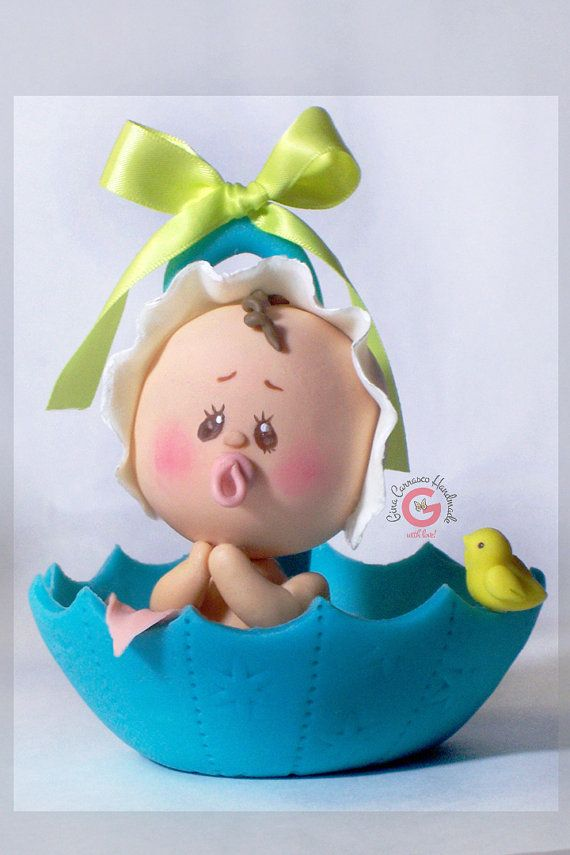 Baby shower cake topper Baby in umbrella by GinaCarrascoHandmade