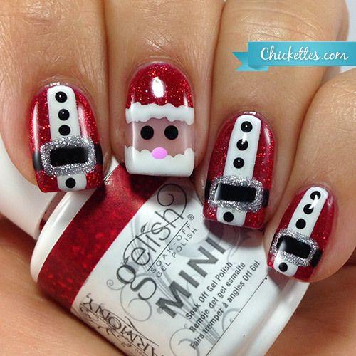 Chickettes.com Santa Claus nail art - freehand gel polish art