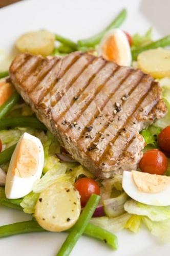 Salomon steak and salad, Grand Caffe, Zilina city, Slovakia, Europe