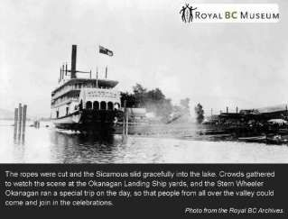 Royal BC Archives – Launch of the SS Sicamous at the Okanagan Landing Ship Yards