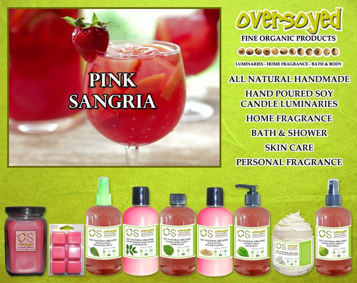 Pink Sangria (Compare To Bath & Body Works®) Product Collection - A refreshing combination of zesty mandarin, raspberry, fresh blueberry and layered sweet sugar crystals. #OverSoyed #PinkSangria #Candles #HomeFragrance #BathandBody #Beauty