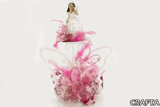 Quinceañera Decorated Centerpiece with Butterflies and Floral Organza Ribbon