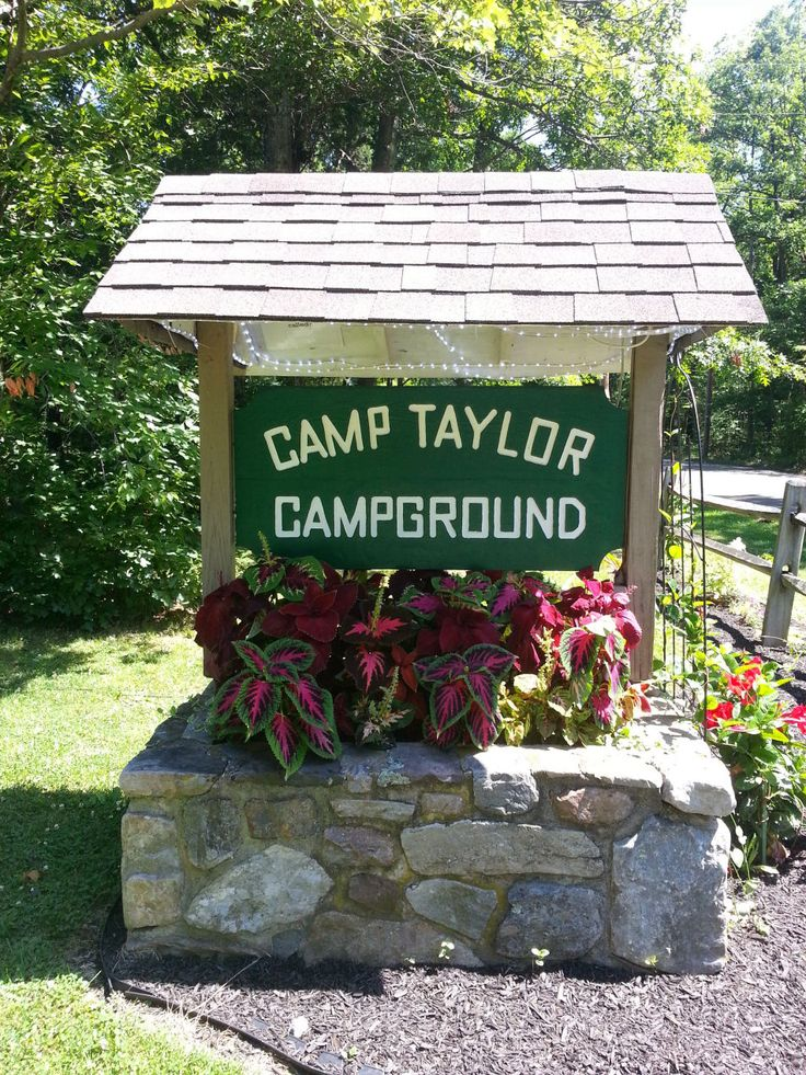 Camp taylor sign hiking destinations tent site