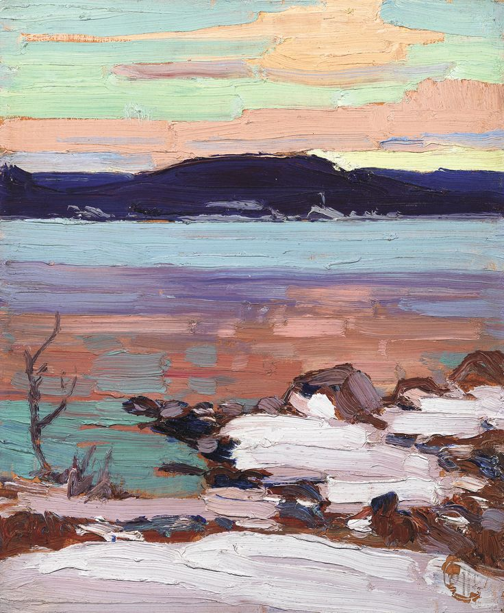 Tom Thomson Catalogue Raisonné | Landscape with Snow, Fall 1916 (1916.160) | Catalogue entry Landscape with Snow Fall 1916 Alternate titles: Spring Landscape with Snow; verso: Rising Mist – Heavy Skies Oil on wood panel (bevelled edge) 10 1/2 x 8 1/2 in. (26.7 x 21.6 cm) Inscription recto: l.r., estate stamp Inscription verso: Northern Mist; l.l., estate stamp Private collection