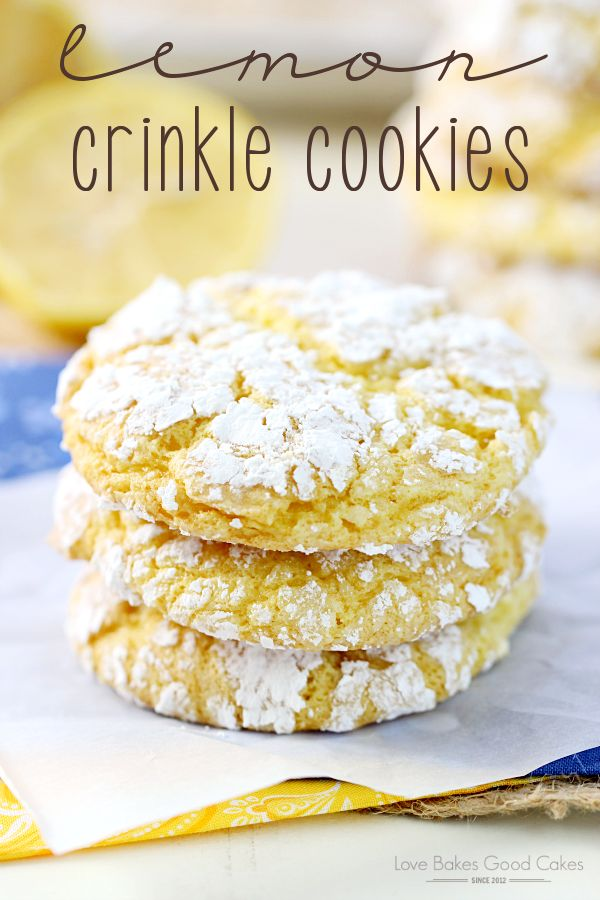 These Lemon Crinkle Cookies are so easy and they only have 4 ingredients! They will remind you of sunshine and warmer days!: