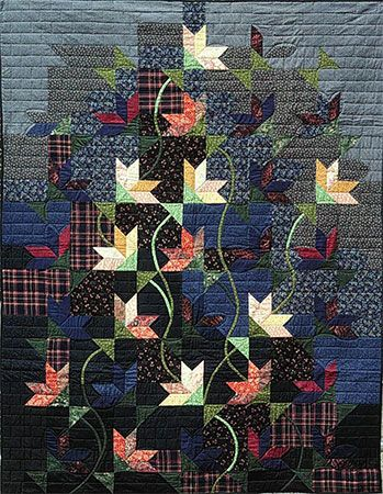 "Noght Bloom by Jane Blair.   56"" x 72""   Ist prize Wall Quilt AQS '85.   In National Quilt Museum: Blair Quilts, Cat, Bloom Quilts, Deky Quilts, Fabric Sewing Quilts, 1 Quilts, Art Quilts, Night Bloom"