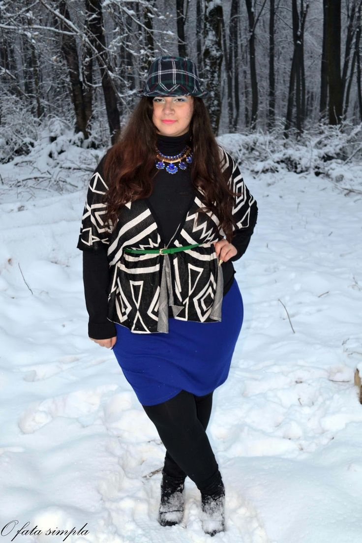 O fata simpla: Winter is here #ootd #green #blue #hat #aztecprint #outfit