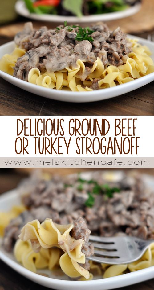 This Delicious Ground Beef {or Turkey} Stroganoff makes for a great, quick weeknight meal.