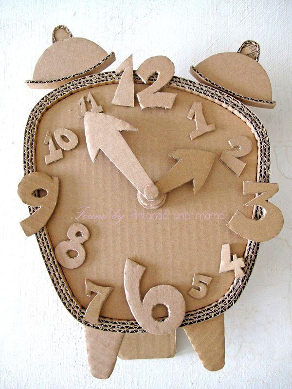 DIY_con_cajas_de_Cartón_Reloj_Despertador_PintandoUnaMama