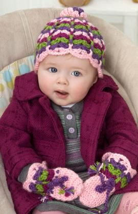 scalloped baby hat & mittens crochet pattern