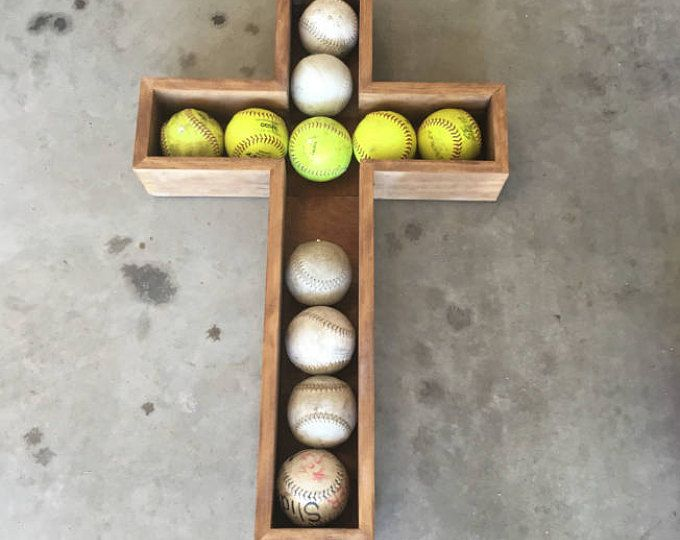 Softball Shadow Box, softball Display Cross, softball Shelf, Softball Shadow Box, Softball Cross, Baseball Shadow Box, Religious Shadow box