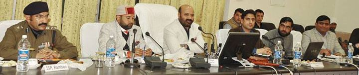 Minister for Health and Medical Education Bali Bhagat chairing a meeting in Ramban.