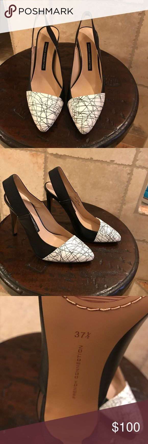 """BNWOB French Connection Heels Black and white abstract print heels by French Connection. 4"""" heel height. Never worn. French Connection Shoes Heels"""