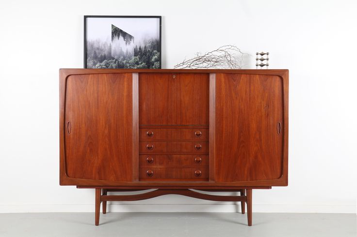 DANISH TEAK TALL SIDEBOARD  / Mr. Bigglesworthy - Mid Century Modern and Designer Retro Furniture
